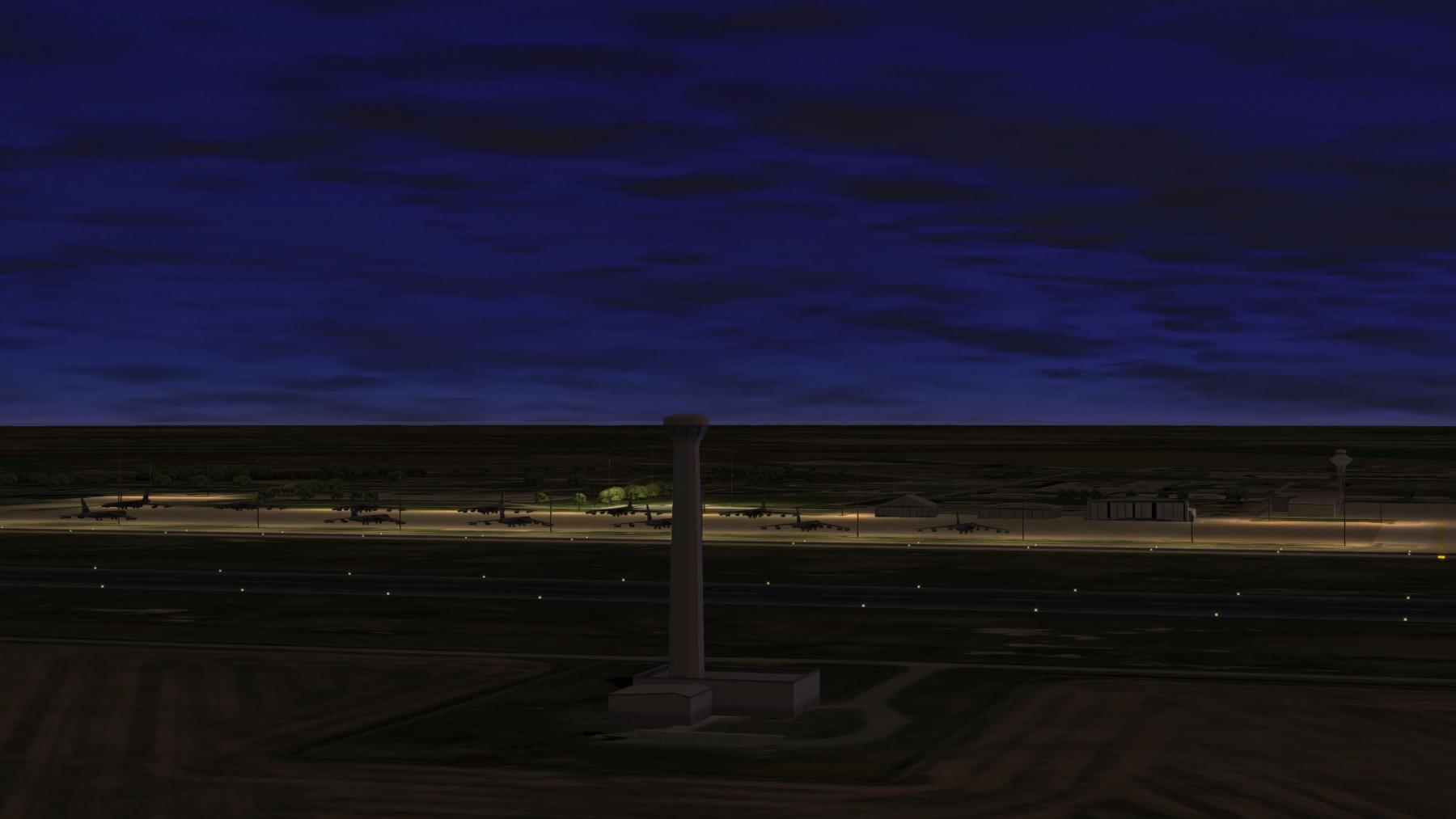 Minot AFB Tower & Parked Aircraft : Night