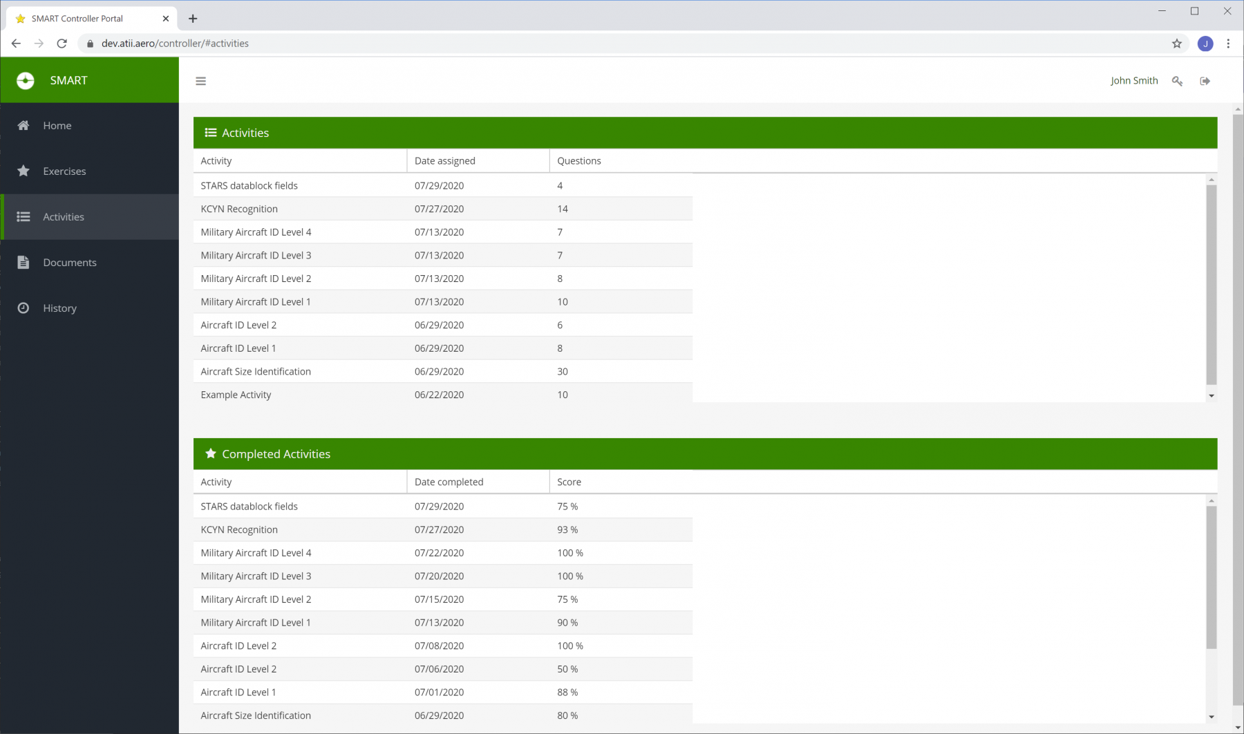 SMART Student Portal - Activities and Quizzes